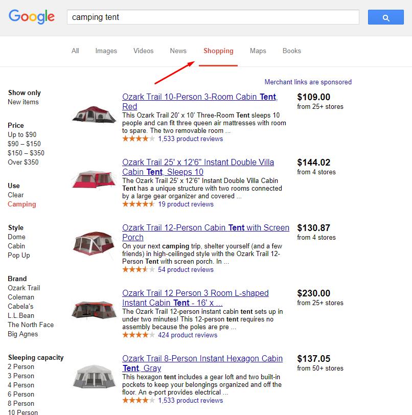 תוצאות גוגל שופינג